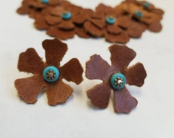 Brown leather with turquoise  flower bib necklace and earrings western native leather fashion die cut leather quiver of rubies gift for her