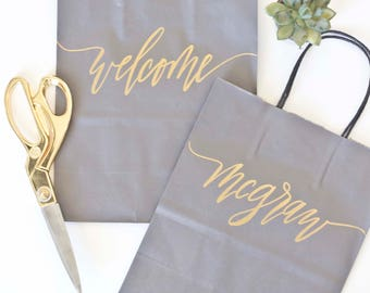 Custom gift bags + Gray gift bags + Wedding gift bags + Bridal shower gift bag + Bachelorette Party bags + Welcome Bags / Handwritten
