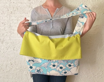 Handmade Messenger Bag / Cross Body Bag / Book Bag / Purse - Chartreuse & Blue - Gifts Under 50 / Gifts for Her / Handmade Gift