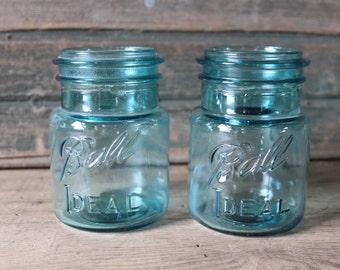 2 Ball Ideal blue pint jars, no lids