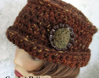 Womens Crochet Hat Pattern With Brim And Large Trim Piece Quick And Easy Using Chunky Tweed Instant Download