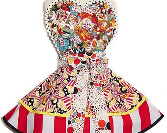 Creepy Clown Pinup Apron/Retro Apron/Woman's Apron/Rockabilly/50s Style/Diner Apron