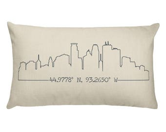 GPS Coordinates Pillow, Custom Coordinates, House Coordinates, Skyline Pillow, City Skyline Pillow, Pillow Cover, Accent Pillow, Location