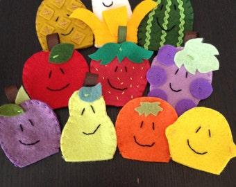 Fruit Finger Puppets, Felt Finger Puppets, Finger Puppets, Food Finger Puppets