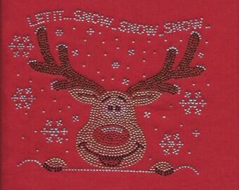 Christmas Raindeer Red Nose Rhinestone Shirt