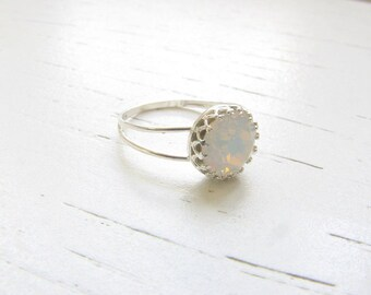 White opal ring - Opal ring - Silver Opal ring - Gift for her - Promise ring