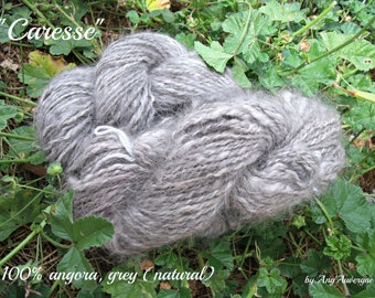 25g - Handspun 100% Angora Yarn, ARAN/DK, white or grey, natural (not dyed)