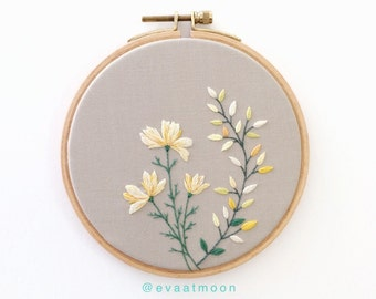 Flower Embroidery Hoop Art with yellow blossom. Wall Hanging. Hand Embroidered Hoop. Wall Decor.
