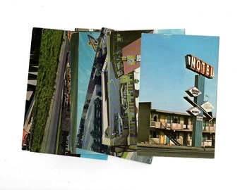 8 Vintage California Motel Chrome Postcards Used