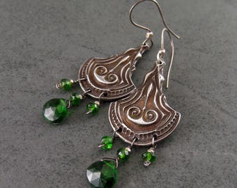 Chrome diopside chandelier earrings-handmade Art Deco eco friendly fine silver jewelry-FIONNULA