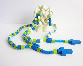 Rosary & Cross Set Made With Lego Bricks - Catholic Kid Rosary -  Blue, Green and White Rosary - Family Rosary Set Special