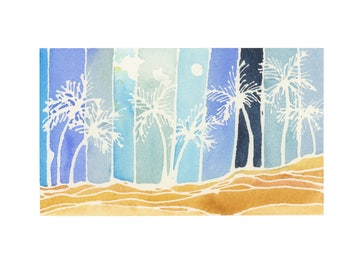 Palm Tree Beach Watercolor Landscape Painting - Original