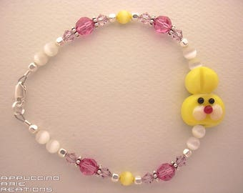 Yellow Easter bunny girls bracelet