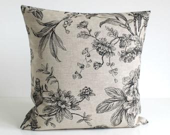 Linen Pillow Cover, Natural Pillow Cover, Bird Pillow Cover, Pillow Sham, Cushion Cover, Throw Pillow Cover - Botanica Black