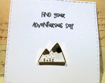 Mountain Enamel Pin with handmade Punny card & envelope - Lapel Pin - Hard Enamel Pin - Nature - Kawii - Trending - Backpack Pin