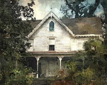Fine Art Print of Abandoned Architecture in Eastern North Carolina in Watercolor Rendering