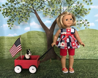 American Girl fitting 4th of July shorts outfit for American Girl doll or similar 18 inch doll