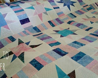 Patchwork Throw Quilts for sale, Handmade Lap Quilt for sale, Handmade Star Quilt, Homemade Lap quilt, Made to Order Quilts
