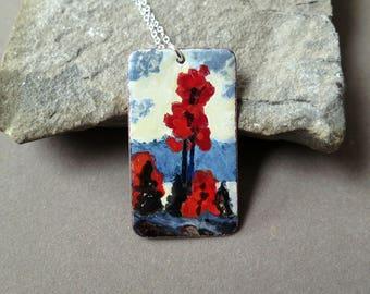 Northern Fall Landscape, Autumn, Enamel Landscape - Red Trees, Vitreous (Glass) enamel on copper