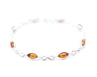 Amber Silver Infinity Bracelet, Infinity Bracelet, Eternity Bracelet, Infinity Jewelry, Forever Bracelet, Dainty Silver Bracelet, Infinity