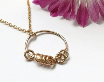 Gold Ring Fidget Jewelry, Circle Necklace for Women, Fidget Necklace, Minimalist Necklace, Worry Necklace, Anxiety Jewelry, Women's Necklace