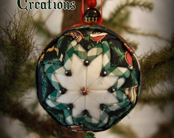 Handmade Quilted & Beaded Christmas Ball Ornament Green Black White