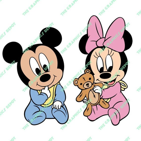 Baby Mickey Mouse Baby Minnie Mouse svg dxf png eps files