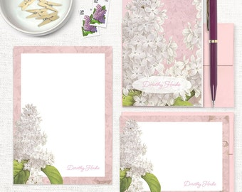 complete personalized stationery set - GRANDMA'S LILACS in PINK - note cards - notepad - custom stationary - letter writing set