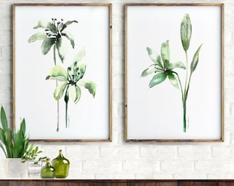 Flower Watercolor Print Flower Wall Art Lily Flower Set of 2 Abstract Flower Botanical Print Mother's day gift Floral Print Bedroom Wall Art