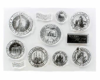 Travel Stamps Transparent Stamp, Rubber Stamps, Journal Accessories - STM095