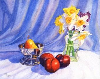 Original Watercolor Painting Still Life Art by Cathy Hillegas, Watercolor Floral, watercolor daffodils, watercolor still life fruit painting