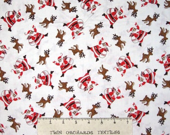 Storybook Christmas Fabric - 30s Repro Santa Reindeer Toss White - Windham YARD