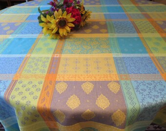 Round Cotton Jacquard Teflon tablecloth.Water repellent. Easy care. 69'' diameter.Fabric from Provence, France. Valescure.