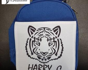 Personalised Boys Lunch Bag, Tiger Bag, Blue School Lunch bag