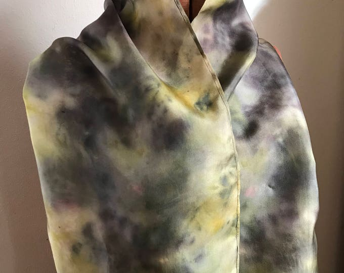Hibiscus Flower and Goldenrod naturally dyed silk scarf 19