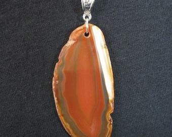 Brazilian Agate Slab Necklace, Agate Pendant Necklace, Rock Slice Pendant