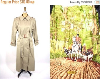 1980s trench coat | khaki Tiger Fox classic trench coat | vintage 80s trench