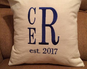 Personalized, Monogrammed Pillow for Anniversary/Wedding/Housewarming Gift