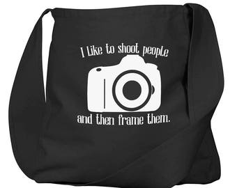 I Like To Shoot People Black Organic Cotton Slouch Bag