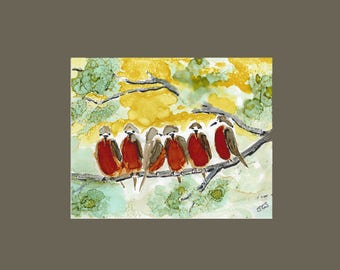 Print 8 x 10 Birds on a Branch Vibrant Print of an Original in Alcohol Ink
