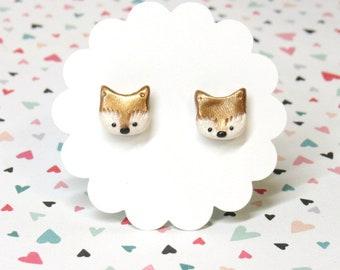 Fox Earrings, Cute Earrings, Titanium Earrings, Hypoallergenic, Fox Stud Earrings, Animal Earrings, Fox Jewelry, Everyday Earrings
