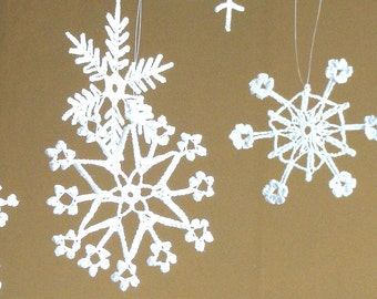 6 Lace Crochet snowflakes christmas ornament decoration rustic Xmas tree decor white crochet snowflakes hanging christmas tree embellishment