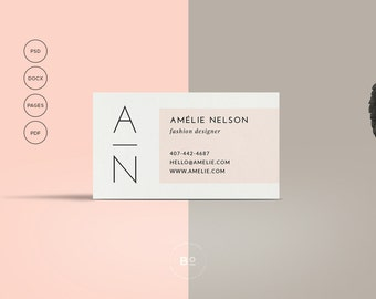 Instant download hello diy printable business card printable business card premade business card template modern business card feminine card calling card instant download friedricerecipe Gallery