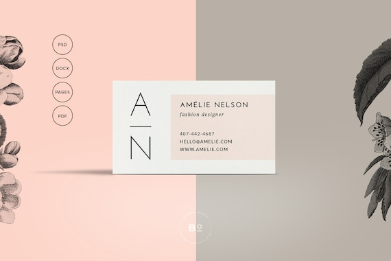 Printable business card premade business card template printable business card premade business card template modern business card feminine card calling card instant download accmission Gallery