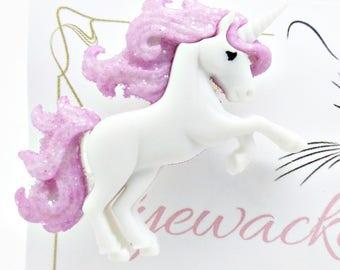 Pink Unicorn Badge, Unicorn Brooch, Unicorn Jewellery,  Funky Glitter Badge, Cute Badge, Gift for Her, Unicorn Lover Gift, Fantasy Gift