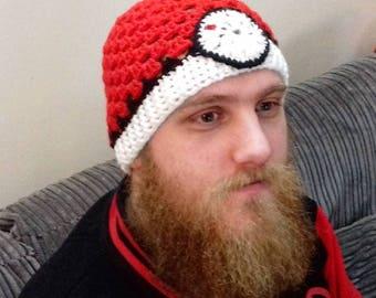Pokeball Handmade Adult Slouch Hat - Crochet Granny Square Hat