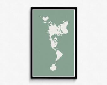 Dymaxion map etsy buckminster fuller dymaxion map poster green seas gumiabroncs Choice Image