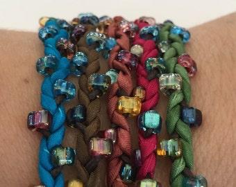 DIY Silk Wrap Bracelet or Silk Cord Kit DIY Bracelet DIY Craft Kit You Make Five Adult Friendship Bracelets in Jewel Tones Palette