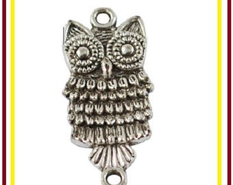 Set of 15 charms / connectors owls / owls 2.8 cm silver - pendant 2 holes to hang your jewelry Bracelets, necklaces