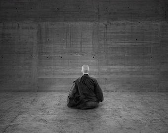 Buddhism Print - Black & White Buddhist Monk in Meditation (Oriental Asian Buddha Picture Poster Art Painting Buddhist Japanese Chinese )
